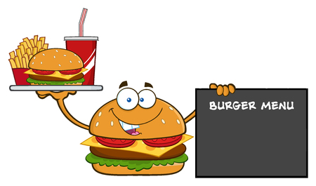 fry: Burger Cartoon Mascot Character Holding A Platter With Burger, French Fries And Soda By Sign Burger Menu. Illustration Isolated On White Background Stock Photo