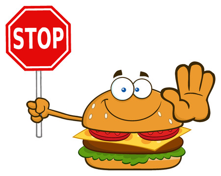 Smiling Burger Cartoon Mascot Character Holding A Stop Sign. Illustration Isolated On White Background Stock Photo
