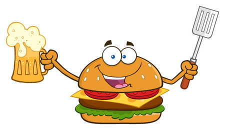 slotted: Happy Burger Cartoon Mascot Character Holding A Beer And Bbq Slotted Spatula. Illustration Isolated On White