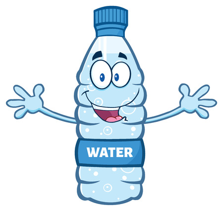 Cartoon Illustation Of A Water Plastic Bottle Mascot Character With Open Arms Wanting A Hug. Illustration Isolated On White Background