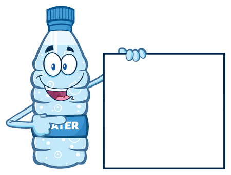 Cartoon Illustation Of A Water Plastic Bottle Mascot Character Holding And Pointing To A Blank Banner. Illustration Isolated On White Background