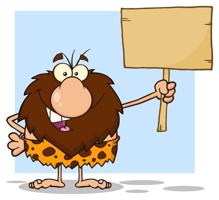 Happy Male Caveman Cartoon Mascot Character Holding A Wooden Board. Illustration Isolated On White Background
