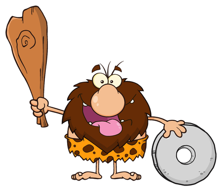 paleolithic: Happy Male Caveman Cartoon Mascot Character Holding A Club And Showing Wheel