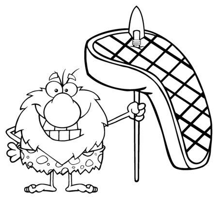 Zwart-wit Lachende man Caveman Cartoon Mascot Karakter Holding A Spear Met Grote Gegrilde Steak Stockfoto
