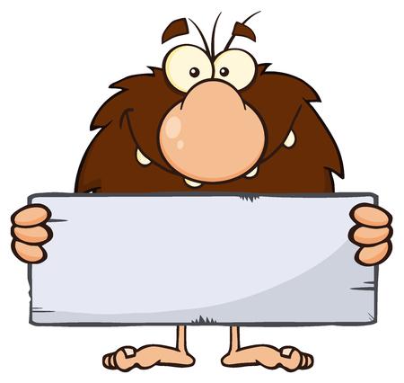 Mascota de la historieta hombre de las cavernas Hombre divertido del personaje de una piedra en la muestra en blanco