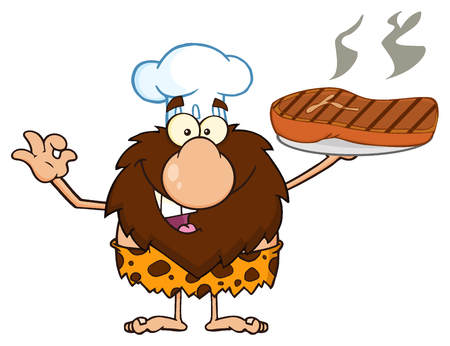 Chef Male Caveman Cartoon Mascot Character Holding Up A Platter With Big Grilled Steak And Gesturing Ok