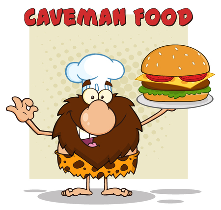 Chef Male Caveman Cartoon Mascot Character Holding A Big Burger And Gesturing Ok. Illustration With Text Caveman Food