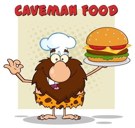 Chef Male Caveman Cartoon Mascot Character Holding A Big Burger And Gesturing Ok. Illustration With Text Caveman Food