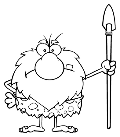 caveman cartoon: Black And White Angry Male Caveman Cartoon Mascot Character Standing With A Spear Stock Photo