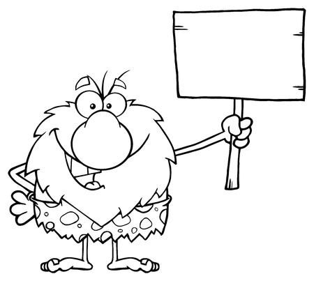 caveman cartoon: Black And White Happy Male Caveman Cartoon Mascot Character Holding A Wooden Board