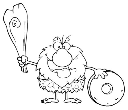 eyes cave: Happy Male Caveman Cartoon Mascot Character Holding A Club And Showing Wheel