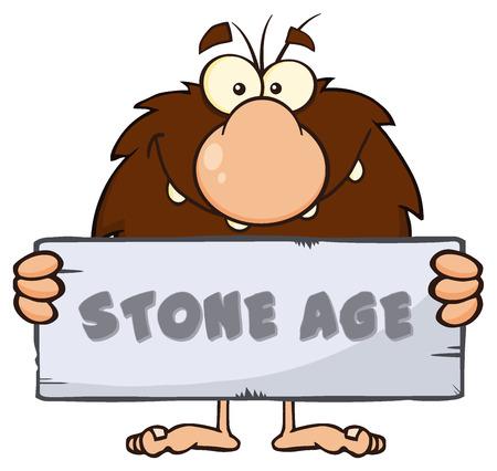 edad de piedra: Mascota de la historieta hombre de las cavernas Hombre divertido del personaje de una piedra en la sesión con el texto de la Edad de Piedra