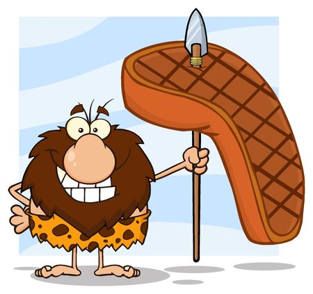 caveman cartoon: Smiling Male Caveman Hunter Cartoon Mascot Character Holding A Spear With Big Grilled Steak. Illustration Isolated On White Background