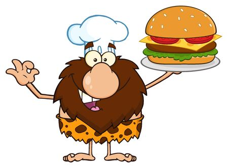 eyes cave: Chef Male Caveman Cartoon Mascot Character Holding A Big Burger And Gesturing Ok
