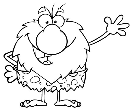 character cartoon: Black And White Happy Male Caveman Cartoon Mascot Character Waving For Greeting