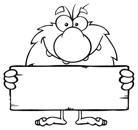 happy man cartoon: Funny Male Caveman Cartoon Mascot Character Holding A Stone Blank Sign