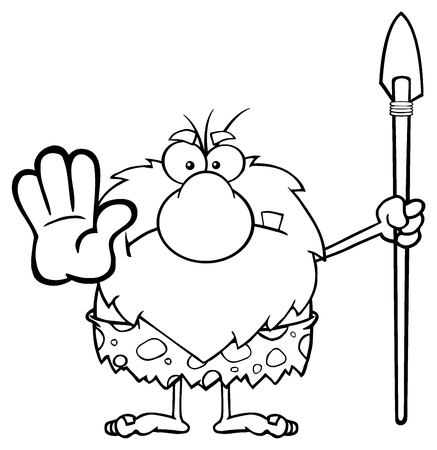 caveman cartoon: Black And White Angry Male Caveman Warrior Cartoon Mascot Character Gesturing And Standing With A Spear