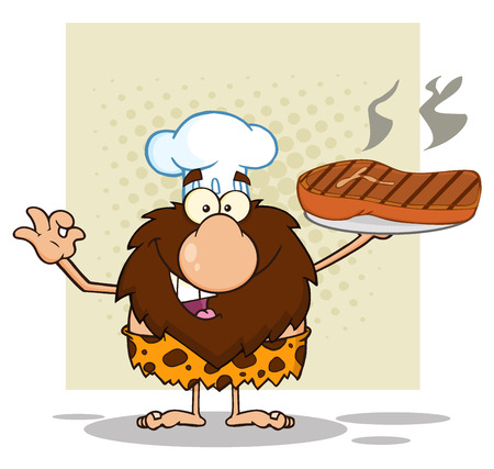 caveman cartoon: Chef Male Caveman Cartoon Mascot Character Holding Up A Platter With Big Grilled Steak And Gesturing Ok. Illustration Isolated On White Background