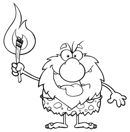 caveman cartoon: Black And White Smiling Male Caveman Cartoon Mascot Character Holding Up A Fiery Torch