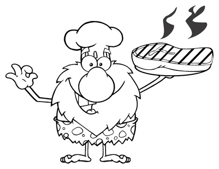 caveman cartoon: Black And White Chef Male Caveman Cartoon Mascot Character Holding Up A Platter With Big Grilled Steak And Gesturing Ok