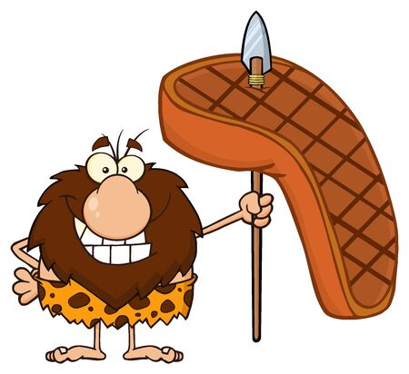 caveman cartoon: Smiling Male Caveman Cartoon Mascot Character Holding A Spear With Big Grilled Steak