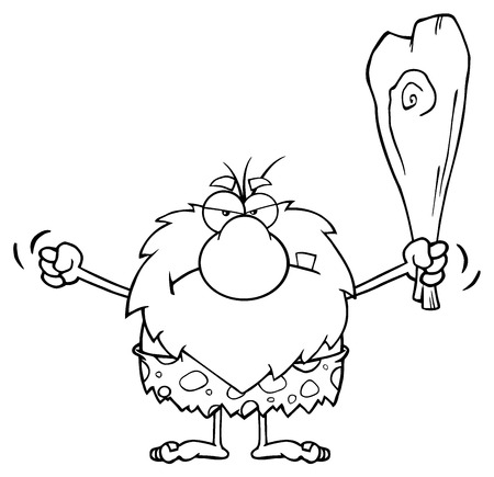 character cartoon: Black And White Grumpy Male Caveman Cartoon Mascot Character Holding Up A Fist And A Club Stock Photo