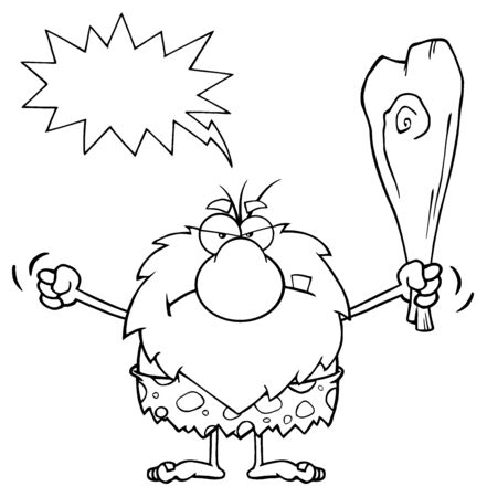 grumpy: Black And White Grumpy Male Caveman Cartoon Mascot Character Holding Up A Fist And A Club. Illustration With Angry Speech Bubble