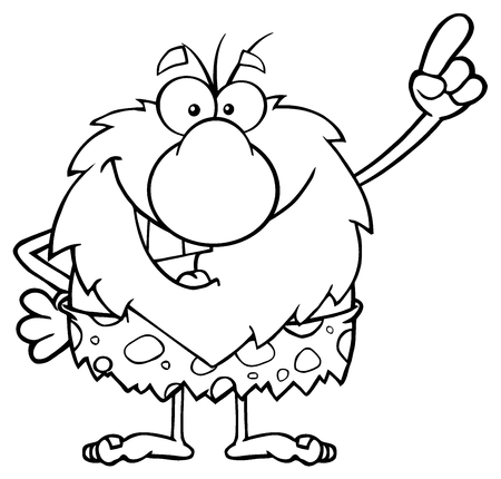 caveman cartoon: Smiling Male Caveman Cartoon Mascot Character Pointing Stock Photo