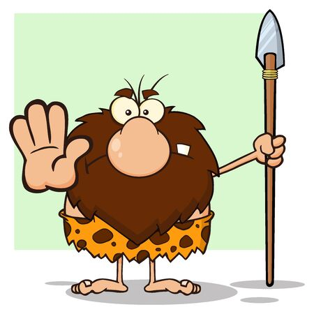 Angry Male Caveman Hunter Cartoon Mascot Character Gesturing And Standing With A Spear