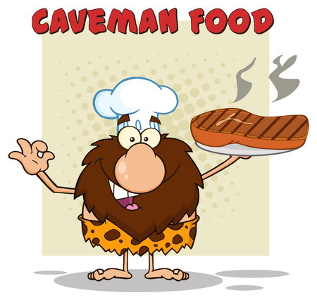 cartoon mascot: Chef Male Caveman Cartoon Mascot Character Holding A Big Steak And Gesturing Ok. Illustration With Text Caveman Food Isolated On White Background