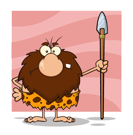 eyes cave: Angry Male Caveman Cartoon Mascot Character Standing With A Spear. Illustration Isolated On White Background Stock Photo