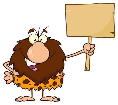 character cartoon: Happy Male Caveman Cartoon Mascot Character Holding A Wooden Board Stock Photo