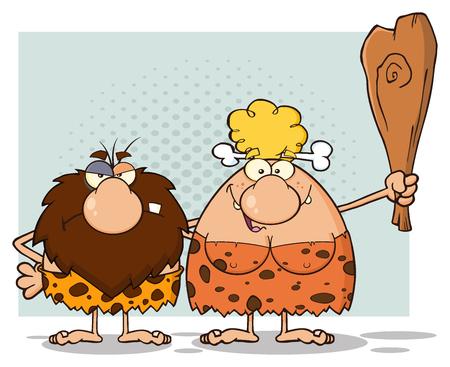 Couple Caveman Mascot Cartoon Personnages Avec Blonde Woman Holding A du Club Banque d'images - 59122977