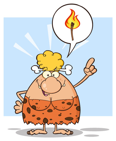 breast comic: Smiling Blonde Cave Woman Cartoon Mascot Character With Good Idea. Illustration With Speech Bubble And Fiery Torch Isolated On White Background