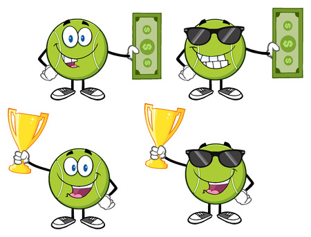 pelota caricatura: Personaje de dibujos animados pelota de tenis. Ilustración sobre fondo blanco Foto de archivo