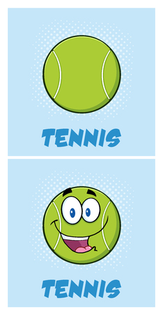 character cartoon: Smiling Tennis Ball Cartoon Character Poster Designs. Illustration With Background