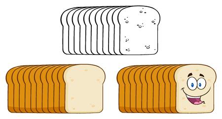 パンの漫画。白い背景で隔離の図
