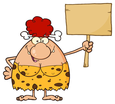 breast comic: Goofy Red Hair Cave Woman Cartoon Mascot Character Holding A Wooden Board. Stock Photo