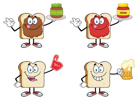Bread Slice Cartoon Mascot Characters. Illustration Isolated On White Background Stock Photo
