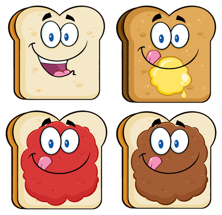 Toast Bread Slice Cartoon Characters With Butter And Jam. Illustration Isolated On White Background