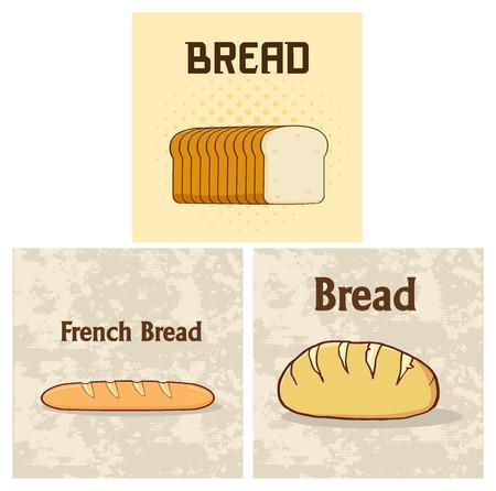 漫画斤パン ポスター デザイン。ホワイト バック グラウンド コレクション セットに分離されたの図