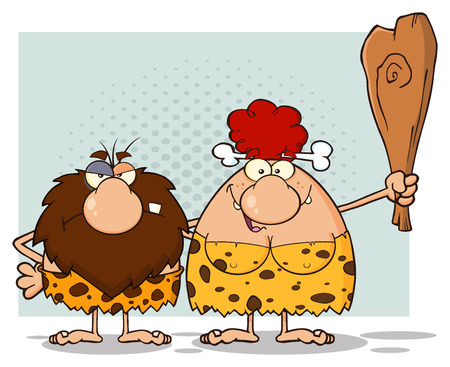 breast comic: Caveman Couple Cartoon Mascot Characters With Red Hair Woman Holding A Club. Illustration Isolated On White Background Stock Photo
