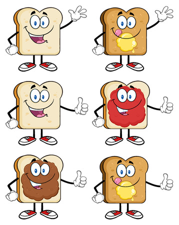 french bakery: Bread Slice Cartoon Mascot Characters. Illustration Isolated On White Background Stock Photo