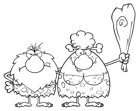 breast comic: Caveman Couple Cartoon Mascot Characters With Woman Holding A Club Stock Photo