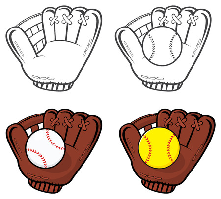 baseball cartoon: Cartoon Of Baseball Gloves With Ball. Illustration Isolated On White Background Collection Set