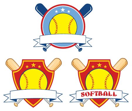 Yellow Softball Over Crossed Bats Design Labels. Illustration Isolated On White Background Collection Set Stock Photo