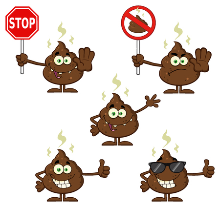 Poop Cartoon Mascot Character. Illustration Isolated On White Background Collection Set 4 Reklamní fotografie