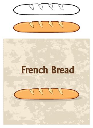 漫画フランスパン バゲット ポスター デザイン。白い背景で隔離の図