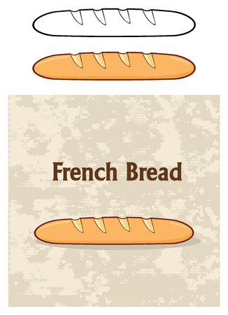 white bread: Cartoon French Bread Baguette Poster Design. Illustration Isolated On White Background