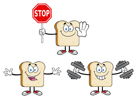 cartoon mascot: Bread Slice Cartoon Mascot Characters. Illustration Isolated On White Background Stock Photo